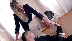 White stockings footjob and leg worship - EbonyFuckFinder.c