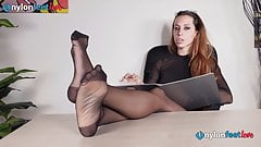 Secretary in pantyhose and louboutin's foot teasing