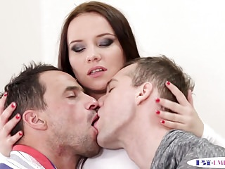 Young bisexual twink Bisex twink licks cockriding babe in mmf trio