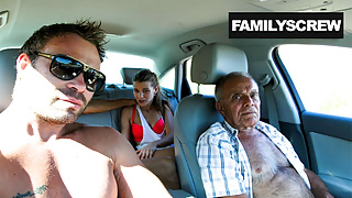 Street Slut Fucking with Grandpa, Step Son and Uncle