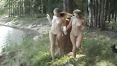 twin Masha & Sasha - naked in the woods