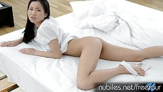 Tight Asian pussy cums on fingers buried deep inside