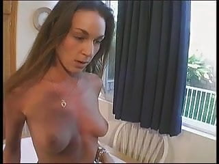 Legs lick - Skinny brunette with nice tits lifts her leg for dude to lick her hairless cunt