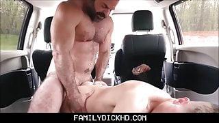 Hot Bear Stepdad Punish Fucks Twink Stepson In His Car