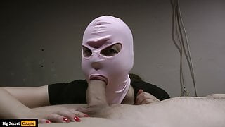 Masked girl giving blowjob, but his cock is too big
