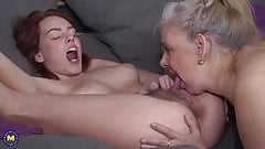 Mature lesbian mother fucks hairy daughter