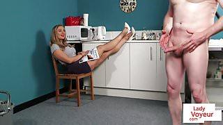 Busty british voyeur instructing guy with joi