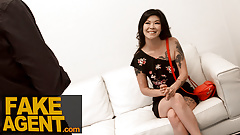 Fake Agent, Tattooed asian chick swallows agent's cum