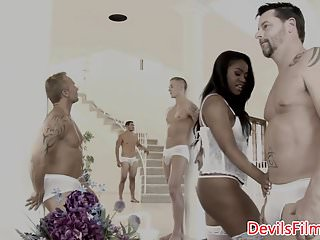 Cum covered black chicks Busty ebony babe cum covered after gangbang