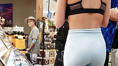 Perfect girl in gymshark pants at the store