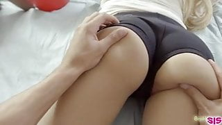 Two bratty sisters fight for a cock