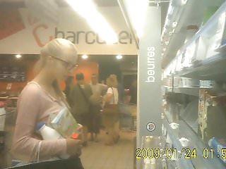 Lingerie in torrington - French extra upskirt blonde lingerie in supermarket