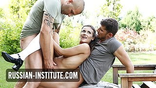 Mina Sauvage seduces two guys for a DP