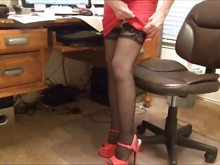 Sexy tits garter Sexy secretary adjusts her garters