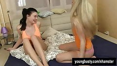 Superb chesty young Lucy gets pussy toyed
