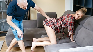 STUCK4K. Getting trapped behind the couch ended with a steamy fuck