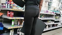 Big Butt Ebony bony in thin black spandex