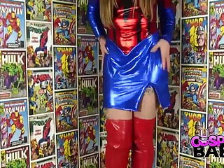 Comic strip orphan d Cosplay babes spider woman cums in comic store
