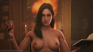 Ciri and Yennefer having fun together by Baronstrap