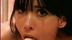 dildo deepthroat brunette gagging to please