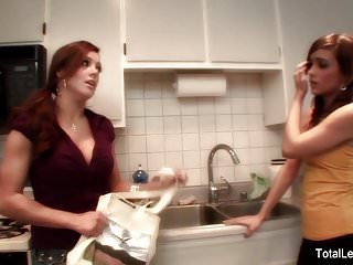 Lesbian cooking Busty milf teaches young brunette how to cook and then some