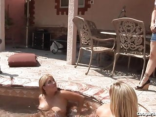 Hot girls in gang bang Hot milf gang bang out by the pool