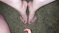 Cumshot all over her sexy feet (Cum on feet).