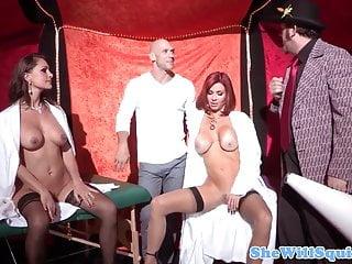 Milf swap videos - Mature squirting milfs swap cum in threesome