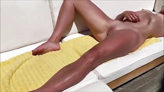 Tanned milf squirts outside while I film