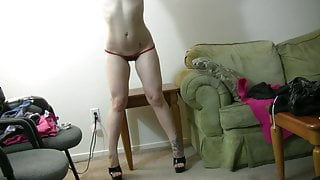 Hot girl Jessye puts on a strip show in her room