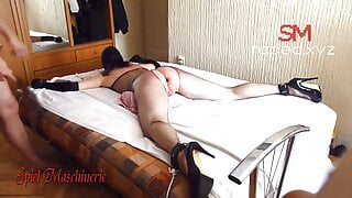 Tied, whipping, fucking and dildo