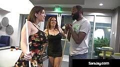 PAWG Milf Sara Jay & Curvy Nicky Ferrari Milk Big Black Cock