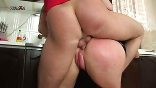 Gagged mommy gets rammed in the kitchen