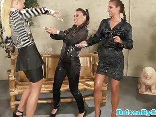 Perfect glam pussy Glam lesbian trio pleasuring oiled up pussy