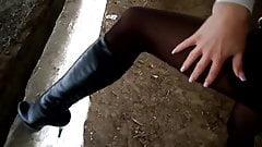 Karina in Nylon Pantyhose and High-Heel Boots