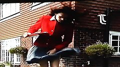 Windy Skirt Problem In Front Of Workmen 4