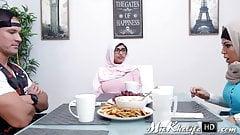 Muslim pornstar Mia Khalifa sucks rock hard cock in hot threeway