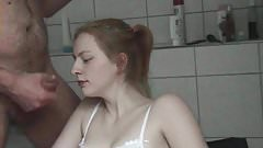 Sweet Natascha gets another facial this time in the bathroom