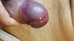 Playing hard cock with big load