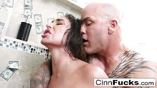 Super hot stripper fucks in a steamy shower filled with