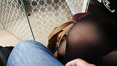 She pressed her opaque pantyhose legs against me in train