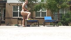 Candid Big ass Latina bending over by pool