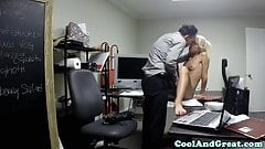Petite pounded waitress babe fucked hard in office