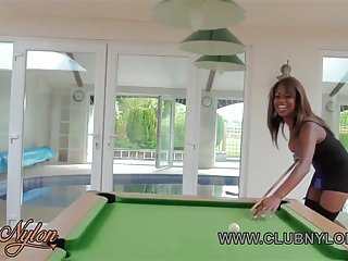 Lingerie bowl game Ebony lesbian babes play pool game loser has to lick pussy