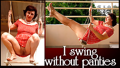 Depraved housewife swinging without panties on a swing FULL