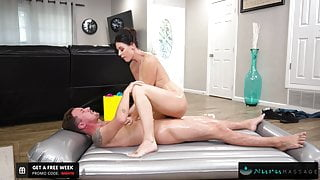 Giving My MILF Step-Aunt a Facial During Our NURU Massage