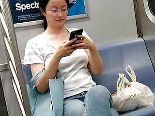 Forest breast fob Asian chinese fob nerdy on the train