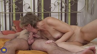 Taboo sex with mature mom and young step son