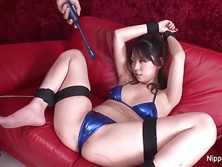 Bikini furries in bondage - Young asian brunette is tied up and played with