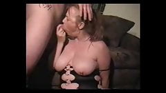 Breasted milf suck dick and get cum on tits and face